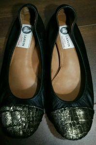 LANVIN Paris Leather Gold Toe Ballet Flats 38 7.5